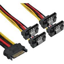 SATA Strom-Y-Kabel SATA Buchse an 4x SATA Stecker gewinkelt mit Clip - 15cm