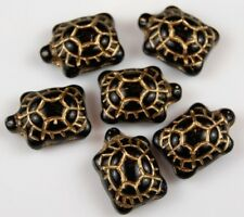 6 PCS Turtle Czech Pressed Glass Beads Black Gold Inlay Craft Spacer 14x19mm
