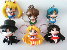 6X Sailor Moon Mercury Mars Jupiter Venus Tuxedo Mask Figure Key Chain Keychain