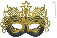 Black And Gold Glitter Eye Mask Masquerade Ball Queen Fancy Dress