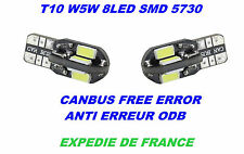 2 AMPOULES LED FIAT ALFA ROMEO LANCIA T10 W5W 8 SMD BLANC XENON 6000K CANBUS