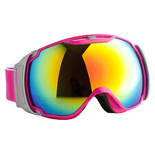 Ski Goggles Anti-Fog CA & PC Double Lens Adult Snow Board Pink & Silver Frame