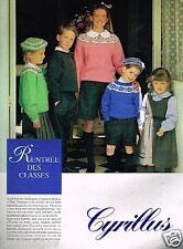 Publicité advertising 1989 Les Vetements pour enfants Cyrillus