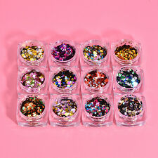 1Box Nail Art Glitter Powder Dust Champagne Gold/Silver Mixed Sequins Decor 3D