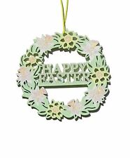Gisela Graham Happy Easter Fretwork Wreath Daffodils Hanging Decoration