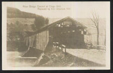 REAL PHOTO Postcard OTEGO New York/NY  Old Covered Bridge view 1901