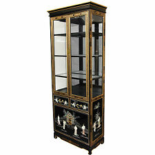 Oriental Furniture Tall Lacquer Curio Cabinet - Black Mother of Pearl Ladies