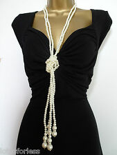 "Stunning 54"" Extra Long Faux Pearl Rope Necklace Knotted with Tassels"