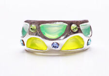 LIME & GRASS GREEN PEEKABOO SEGMENTS METAL RING W LIME & BLUE DIAMANTES (ZX42)