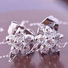 14K White Gold Filled diamond earrings womens Flower crystal Stud Earrings