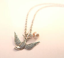 Silver Swallow Birdy & Pearl Charm Necklace- Vintage Jewellery-Cute Bird Jewelry
