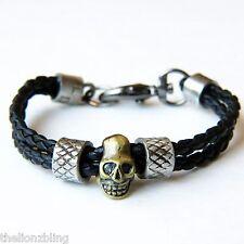 Urban Biker Gothic Skull Pendant on Genuine Braided Black Leather Bracelet