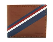 New Tommy Hilfiger Men's Btown Tan Leather Double Billfold Credit Card Wallet