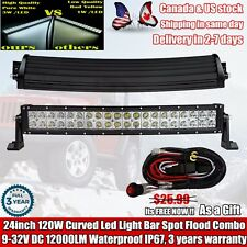 20 inch 120W LED Curved WORK LIGHT BAR SUV BOAT JEEP DRIVING OFFROAD TRUCK 22/24