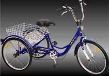 "Komodo 3 wheels Adult 24"" Tricycle 6 speed Blue"