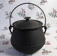 ANTIQUE FRENCH CAST IRON HANGING GYPSY COOK POT LID HANDLE 5 ltr VINTAGE CAMPING