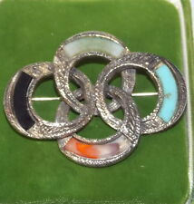 Signed MIRACLE Silver tone Interlocking Brooch Glass Agate Turquoise Onyx 2a 92