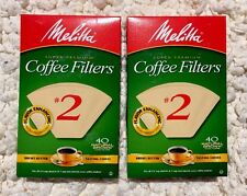 Lot Of 2 Boxes x Melitta Cone Coffee Filters 40 Count #2 Natural Brown
