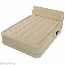 New Queen Size Inflatable Air Mattress Raised Bed Built In Pump Serta Headboard