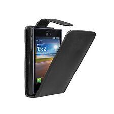 NERO FLIP CASE VERTICALE PER LG E400 Optimus L3-Telefono Cover A Marsupio