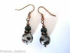 LEOPARD ANIMAL PRINT Glass Bead Copper Tone Drop Earrings Kitsch NEW Beaded