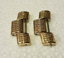 NEW (2) Joe Rodeo JR. 24mm Diamond Watch Band Links Gold Tone (ONLY 1's EBAY)