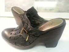 "Cole Haan Stephanie Black Leather High Heeled Clogs Size 8.5B ""CUTE"""