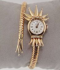 18K Rose Gold Axes Extra 17 Rubis Mechanical Wind Up Vintage Bangle Style Watch