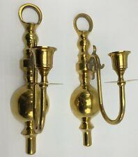 Vintage Pair Polished Solid Brass Wall Sconces Tapered Candle Holders 11 Inches
