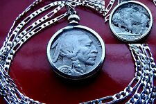 "Antique 1936 Buffalo Indian Head Nickel on a 28"" 925 Sterling Silver Chain"