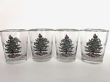 Spode Christmas Tree 12 oz Old Fashioned Glasses Set of 4 Four Holiday Decor B