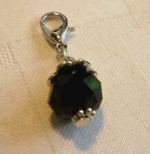 Jet Black Crystal Charm Dangle. Great w/ Origami Owl, Lenny & Eva & all jewelry