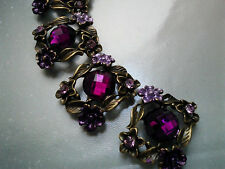 4 Magenta  Rhinestones Metal Beads with Flower and Leaves Motif, Connectors.