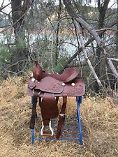 """16"""" Hand Tooled Western Pleasure Trail Horse Saddle Only"""