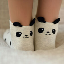 4 Pairs/Box Cute Panda Pattern Stripes Polka Dot Girl's Women Cotton Ankle Socks