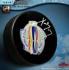 PAVEL DATSYUK Signed 2016 World Cup of Hockey Logo Puck- Team Russia - Red Wings