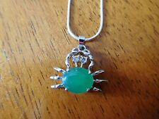 """0.925 Sterling Silver 30"""" Chain Necklace with Crab Pendant Green Stone 1"""""""