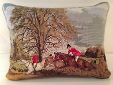 Needlepoint/Petit Point Fox Hunt Pillow NWT
