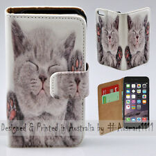 "Wallet Phone Case Flip Cover for iPhone 6 6S 4.7"" - Cute Smilling Kitten Cat"