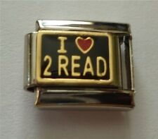 9mm Classic Size Italian Charms E126 Reading  Love to Read I Love 2 Read