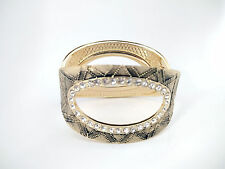 Exquisitely Textured Crystal Oval Hollow Shape Golden Metal Bangle Cuff Bracelet
