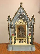Vtg Religious Hard Plastic Miniature Catholic Altar Table Shrine Made Italy