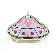 DESIGNER INSPIRED HOLOGRAPHIC CUTE PINK HEART ALIEN SPACESHIP CROSSBODY BAG