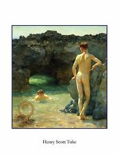 NUDE MAN SWIMMING MAN NAKED MALE BEACH ART PRINT EROTIC GAY INTEREST POSTER