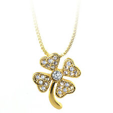 "Gold Color Shamrock Charm Pendant with White Color Crystals and 16"" Box Chain"
