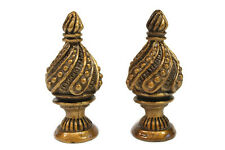 Pair of Unique Brass Spiral Cone Lamp Finial