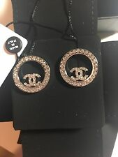 New Auth CHANEL 2017 Large Crystal CC Logo Circle Earrings -Just Beautiful!