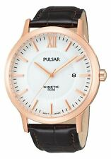 Pulsar Kinetic Gents Leather Strap Rose Gold Plated Case Watch