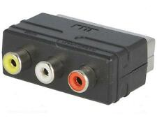 RGB SCART Plug Male to 3 RCA Female A/V Adaptor Converter for TV DVD VCRs