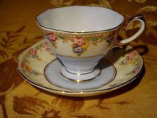 "VINTAGE ROYAL ALBERT *TRELLIS* TEA CUP & SAUCER BLUE BAND #1932 ""Y"" GOLD TRIM"